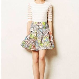Anthropologie Maeve Paris Map Skirt